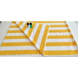 Outlet - Şezlong / Plaj Havlusu - Sarı - Beyaz / İndanthren boyalı - 90x180 cm - 750 gr/adet